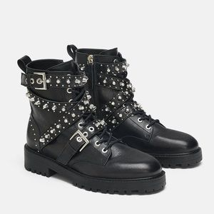 NEW Zara Leather Jeweled Studded Moto Combat Boots